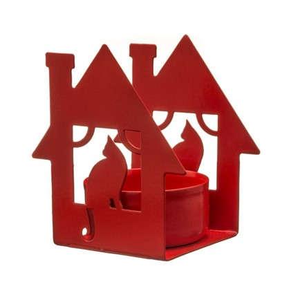Подсвечник для чайной свечи Дом с кошкой красный цена