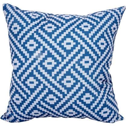 Подушка декоративная Геометрия 40х40 см цвет синий цена