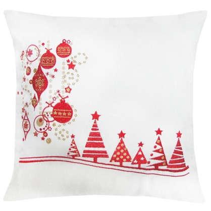 Подушка елки с шарами 40х40 цвет красный