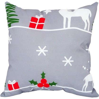 Подушка Новый год 40х40 см цвет серый цена