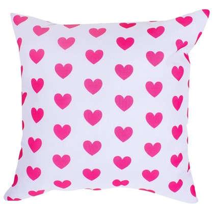 Подушка Сердечки 40х40 см цвет малиновый цена
