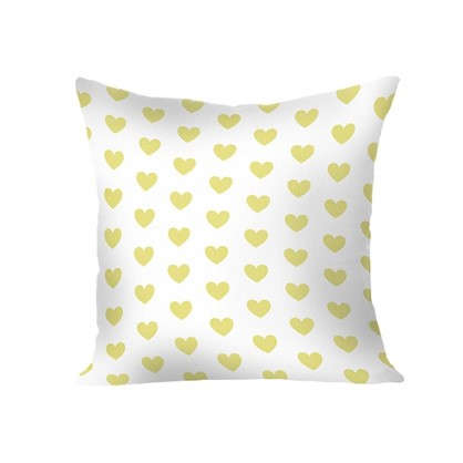 Подушка Сердечки 40х40 см цвет желтый