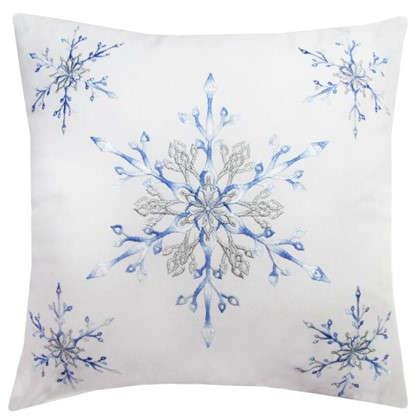 Подушка Снежинки 40х40 цвет голубой цена