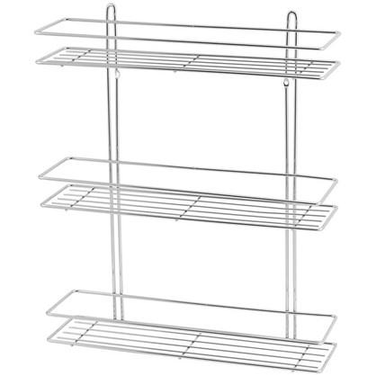 Полка для ванной комнаты Swensa SWR-023 трёхъярусная прямая металл цена