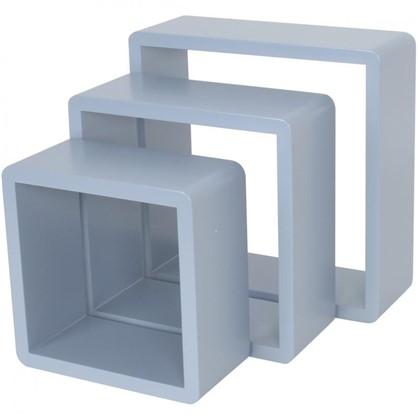Полка кубическая 20х10 см/24х10 см/28х10 см цвет голубой 3 шт.