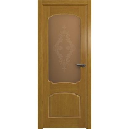 Полотно дверное остеклённое Helly 90x200 см шпон цвет тонированный дуб цена