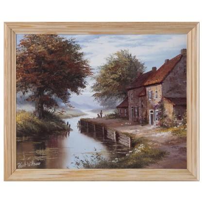 Постер в раме 20х25 см Дом у реки