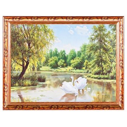 Постер в раме 30х40 см Лебеди цена