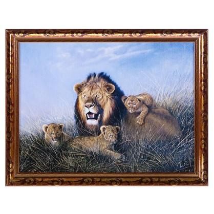 Постер в раме 30х40 см Лев с львятами цена