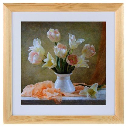 Постер в раме 40х40 см Белые тюльпаны цена