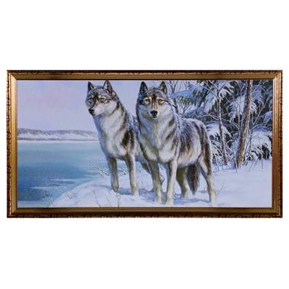 Постер в раме 50х100 см Волк и волчица