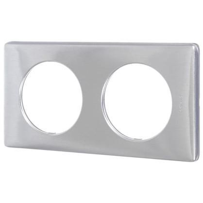 Рамка для розеток и выключателей Celiane 2 поста цвет алюминий цена