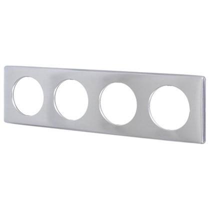 Рамка для розеток и выключателей Celiane 4 поста цвет алюминий