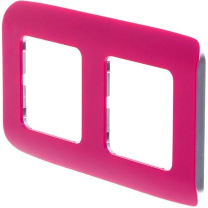 Рамка для розеток и выключателей Cosy 2 поста цвет фуксия