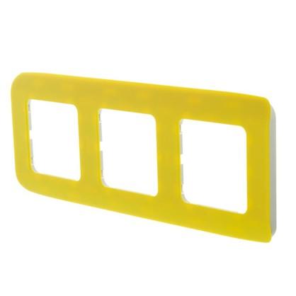 Рамка для розеток и выключателей Cosy 3 поста цвет лимон
