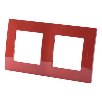 Рамка для розеток и выключателей Etika 2 поста цвет красный цена