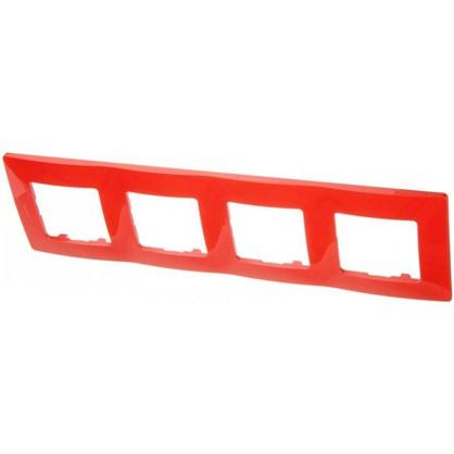 Рамка для розеток и выключателей Etika 4 поста цвет красный цена