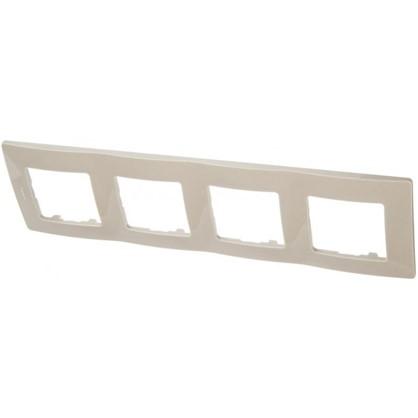 Рамка для розеток и выключателей Etika 4 поста цвет светлая галька