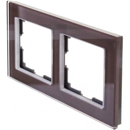 Рамка для розеток и выключателей Favorit 2 поста цвет коричневый