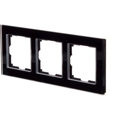 Рамка для розеток и выключателей Favorit 3 поста цвет чёрный