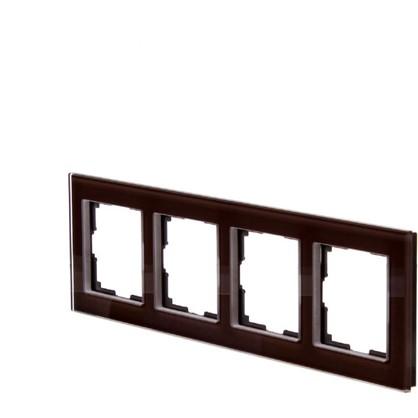 Рамка для розеток и выключателей Favorit 4 поста цвет коричневый цена