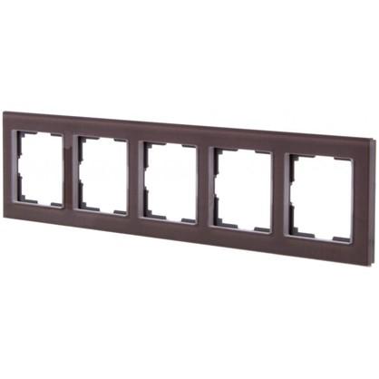 Рамка для розеток и выключателей Favorit 5 постов цвет коричневый цена