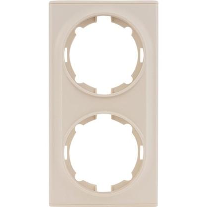 Рамка для розеток и выключателей Florence горизонтальная 2 поста цвет бежевый