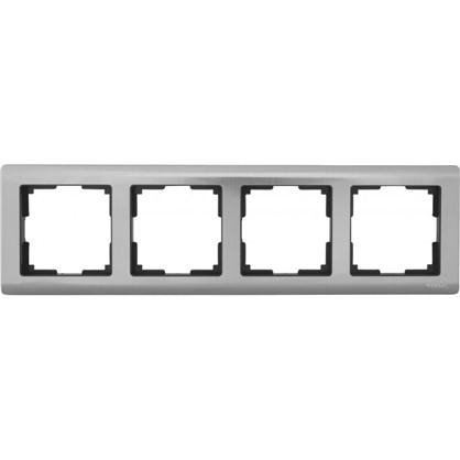Рамка для розеток и выключателей Metallic 4 поста цвет глянцевый никель