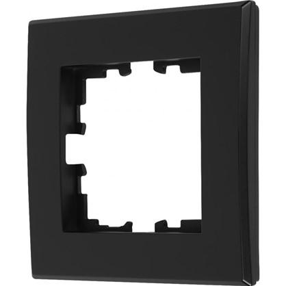 Рамка плоская для розеток и выключателей 1 пост цвет чёрный бархат матовый