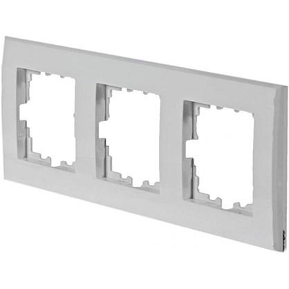 Рамка плоская для розеток и выключателей 3 поста цвет белый цена