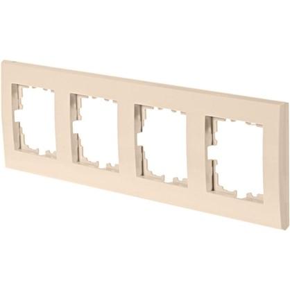 Рамка плоская для розеток и выключателей 4 поста цвет бежевый цена