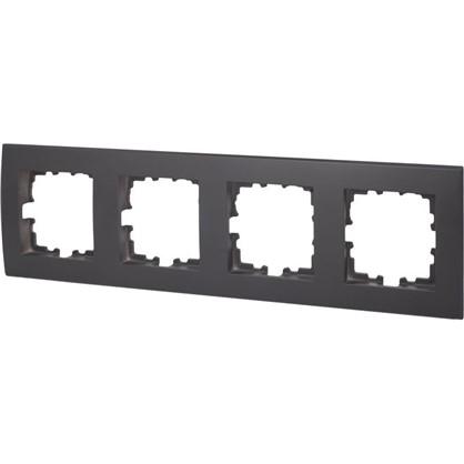 Рамка плоская для розеток и выключателей 4 поста цвет чёрный цена