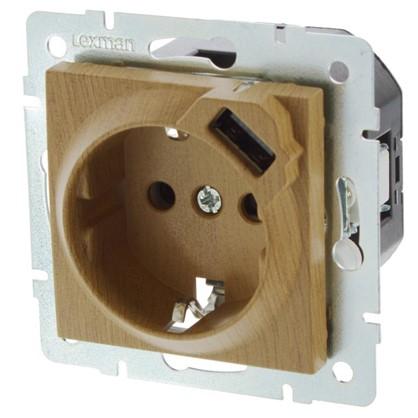 Розетка Lexman Виктория с заземлением разъем USB цвет дуб классический матовый цена