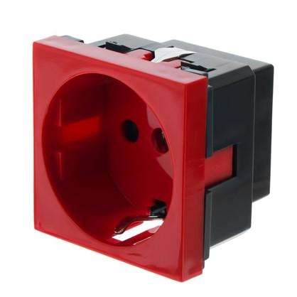 Розетка LK Studio LK45 с заземлением есть шторки цвет красный цена