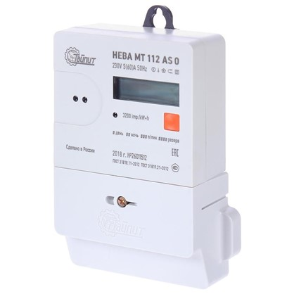 Счётчик электроэнергии Нева МТ 112 AS O 5(60)А однофазный