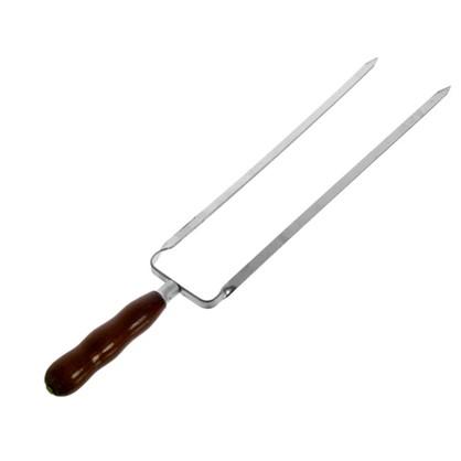 Шампур металлический 45 см двойной с деревянной ручкой