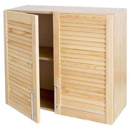 Шкаф навесной Сосна жалюзи Мо с фасадом 68х80 см хвоя/ЛДСП цвет сосна цена