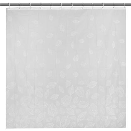 Штора для ванной Листья 180х180 см цвет белый