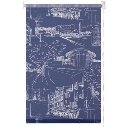 Штора рулонная Город 60х175 см цвет темно-синий цена