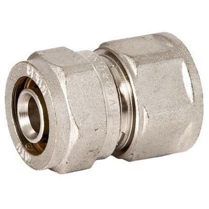 Соединитель обжимной Valtec внутренняя резьба 32х25 мм никелированная латунь цена