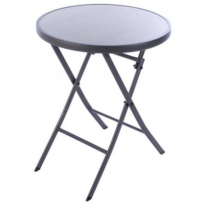 Стол садовый складной 60x71x60 см металл/стекло цвет серый цена