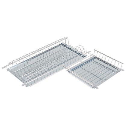 Сушилка для посуды двухъярусная в верхнюю угловую базу 600x600 мм цвет решетки хром цена