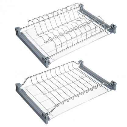 Сушилка для посуды с двумя поддонами для верхнего шкафа 400 мм нержавеющая сталь цвет хром цена