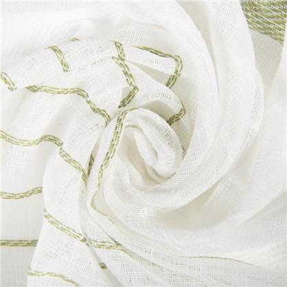 Тюль Полосы 300 см эффект льна цвет зеленый цена