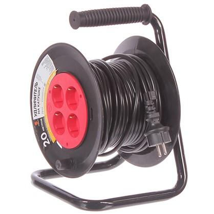 Удлинитель на катушке с заземлением 4 розетки 3х1 мм2 20 м