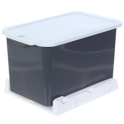 Ведро для мусора выдвижное 15 л цвет серый/белый