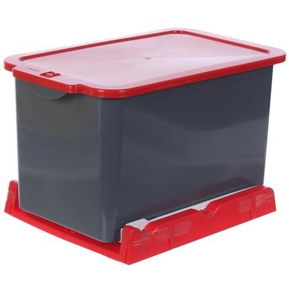 Ведро для мусора выдвижное 15 л цвет серый/красный