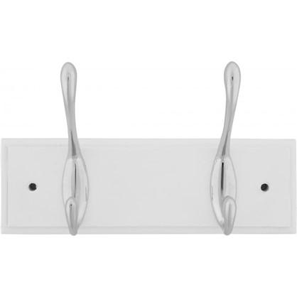 Вешалка настенная для одежды 2/1 крючка 22х9.5х7 см цвет белый цена