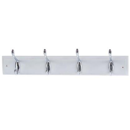 Вешалка настенная для одежды 4/2 крючка 40х9.5х7 см цвет белый
