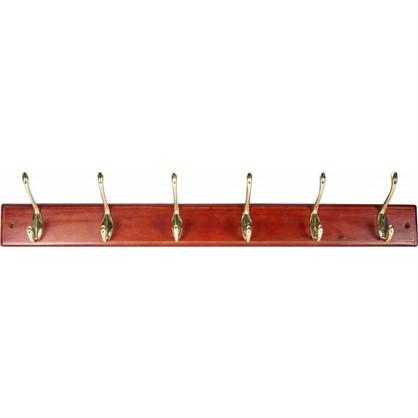Вешалка настенная для одежды 6/3 крючка 68х9.5х7 см цвет красное дерево цена